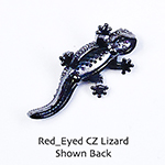 CZ Lizard with ruby colored eyes