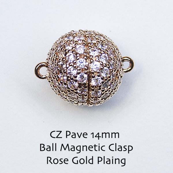CZ Pave 14mm Ball Magnetic Clasps - Click Image to Close