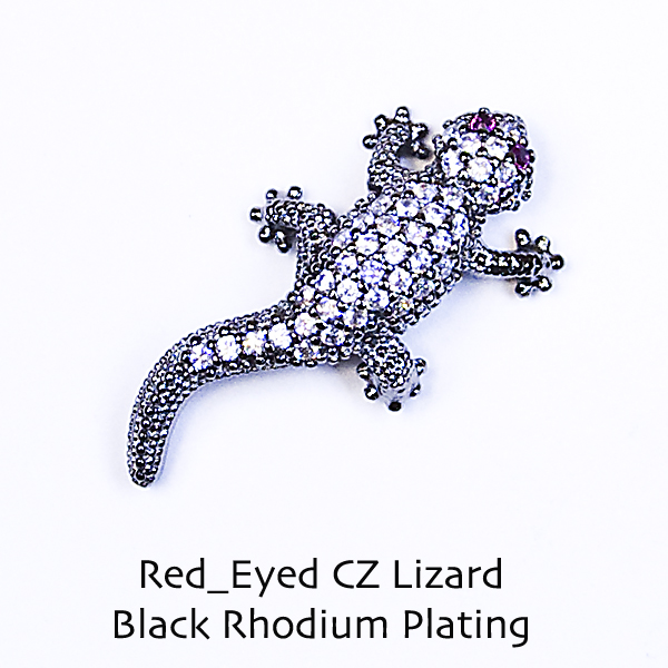 CZ Lizard with ruby colored eyes - Click Image to Close
